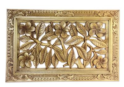 Wood relief panel, 'Frangipani Tree' - Wood relief panel