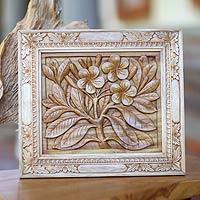 Wood relief panel, 'Frangipani Flowers'