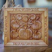 Wood relief panel, 'Lotus Blossom' - Artisan Crafted Cempaka Wood Relief Panel