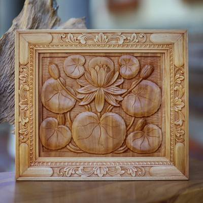 Wood relief panel, Lotus Blossom