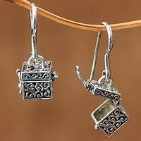 Sterling silver dangle earrings, 'Prayer Locket' - Handcrafted Balinese Sterling Silver Box Earrings