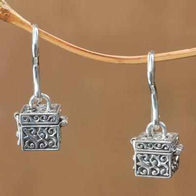 Sterling silver dangle earrings, 'Prayer Locket' - Sterling Silver Prayer Box Earrings