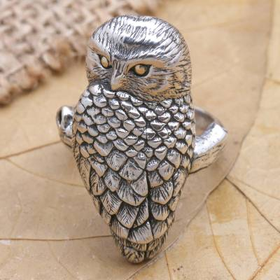 Gold accent cocktail ring, 'Owl' - Sterling Silver and 18k Gold Accent Bird Ring