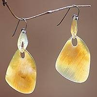 Buffalo horn dangle earrings, 'Benoa Sunrise'