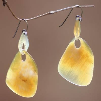 Buffalo horn dangle earrings, 'Benoa Sunrise' - Modern Horn Dangle Earrings