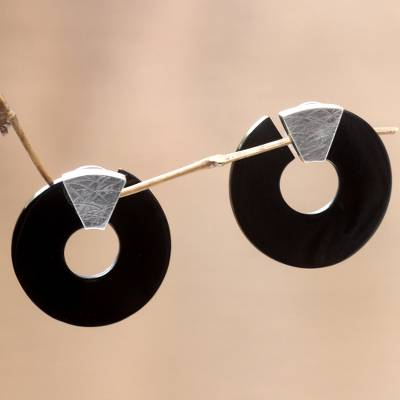 Buffalo horn button earrings, 'Borneo Moon' - Buffalo horn button earrings