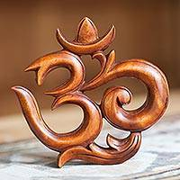 Wood relief panel, 'Sacred Om' - Handcrafted Java Wood Om Wall Silhouette Art