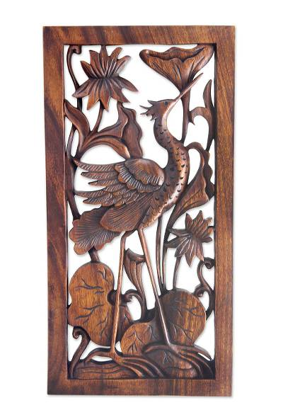 Wood relief panel, 'Stork with Lotus Blossoms' - Carved Wood Bird Relief Panel