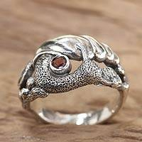 Garnet cocktail ring, 'Balinese Snail' - Garnet cocktail ring