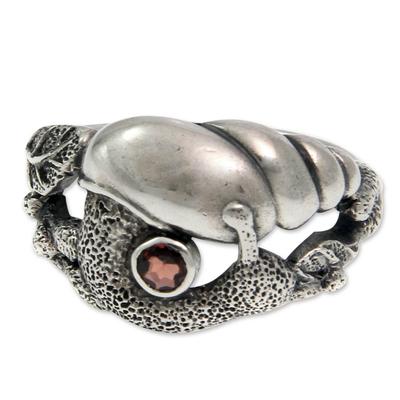 Garnet cocktail ring, 'Balinese Snail' - Garnet cocktail ring