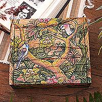 Wood jewelry box, 'Tropical Birds' - Wood Jewelry Box