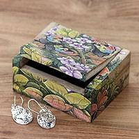 Wood jewelry box, 'Butterfly Garden' - Unique Floral jewellery Box