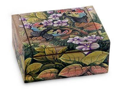 Wood jewelry box, 'Butterfly Garden' - Unique Floral Jewelry Box