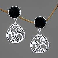 Onyx dangle earrings, 'Midnight Ferns' - Fair Trade Sterling Silver and Onyx Dangle Earrings
