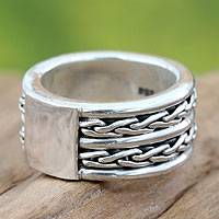 Men's sterling silver band ring, 'Lightning Paths'