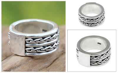 Mens sterling silver band ring, Lightning Paths