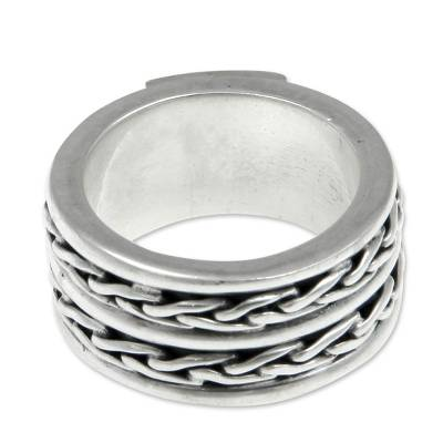 Men's sterling silver band ring, 'Lightning Paths' - Men's Hand Crafted Sterling Silver Band Ring