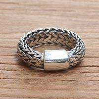 Men's sterling silver band ring, 'Dragon Sigh' - Men's sterling silver band ring