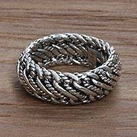 Men's sterling silver band ring, 'Infinity Wave'