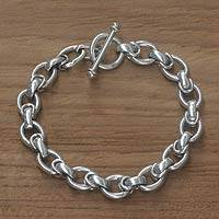 Men's sterling silver link bracelet, 'Brave Knight'