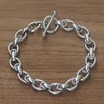 Men's Handcrafted Sterling Silver Link Bracelet, 'Brave Knight'