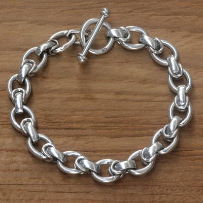 Men S Sterling Silver Link Bracelet Brave Knight Handcrafted
