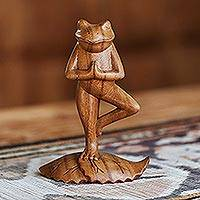 Wood sculpture, 'Tree Pose Yoga Frog'