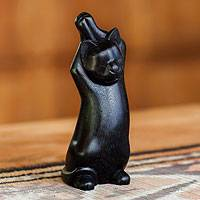 Wood sculpture, 'Black Cat Stretch' - Wood sculpture