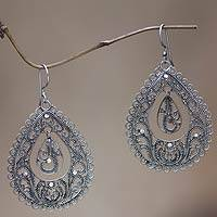 Sterling silver filigree earrings, 'Water'