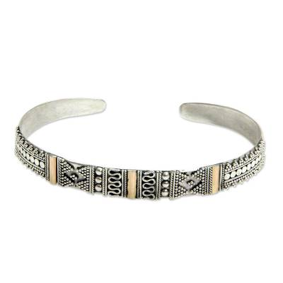 Gold accent cuff bracelet, 'Denpasar Festival' - Sterling Silver and 18k Gold Plated Cuff Bracelet