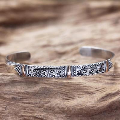 Gold accent cuff bracelet, 'Hypnotic Art' - Gold accent cuff bracelet