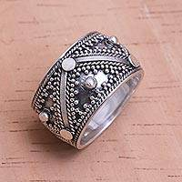 Sterling silver band ring, 'Lavish Bali'