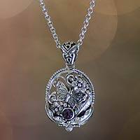 Amethyst pendant necklace, 'Frangipani Butterfly' - Hand Crafted Silver and Amethyst Pendant Necklace