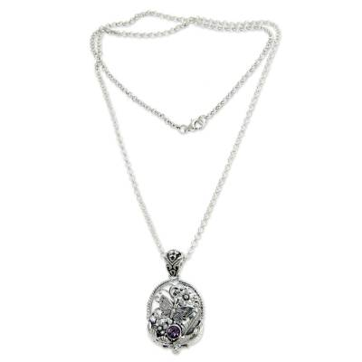 Amethyst pendant necklace, 'Frangipani Butterfly' - Hand Crafted Silver and Amethyst Pendant Necklace
