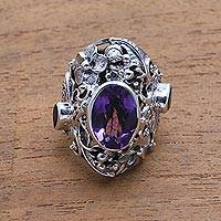Amethyst and citrine cocktail ring, 'Frangipani Butterfly' - Sterling Silver Amethyst and Citrine Ring