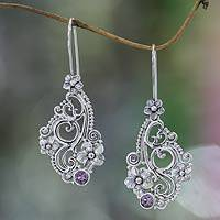 Amethyst flower earrings, 'Frangipani Arabesques' - Hand Made Floral Sterling Silver and Amethyst Earrings
