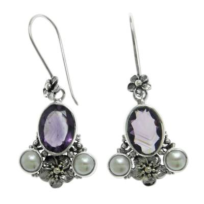 Cultured pearl and amethyst dangle earrings, 'Mystic Queen' - Cultured pearl and amethyst dangle earrings