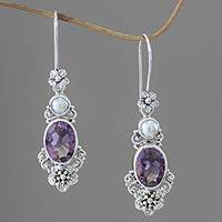 Cultured pearl and amethyst dangle earrings, 'Queen of Flowers'