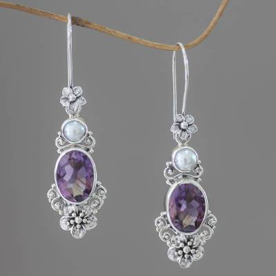 Cultured pearl and amethyst dangle earrings, 'Queen of Flowers' - Women's Floral Pearl and Amethyst Silver Earrings