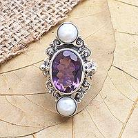 Cultured pearl and amethyst ring, 'Frangipani Queen' - Artisan Crafted Pearl and Amethyst Frangipani Flower Ring