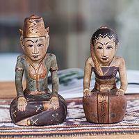 Wood sculptures, 'Java Basahan Wedding' (pair)