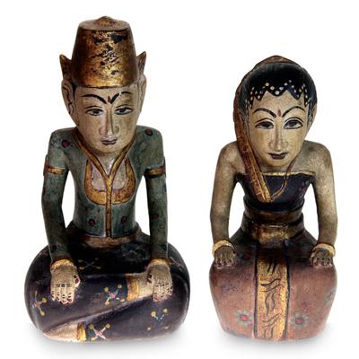 Wood sculptures, 'Java Basahan Wedding' (pair) - Wood sculptures (Pair)