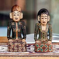 Wood sculptures, 'Jogja Wedding Couple' (pair) - Unique Wood Sculpture (Pair)