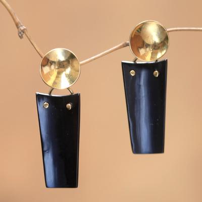 Novica Horn dangle earrings, Midnight Sun - Modern Horn and Brass Dangle Earrings