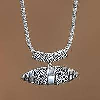 Sterling silver pendant necklace, 'Borobudur Horizon' - Handcrafted Sterling Silver Pendant Necklace