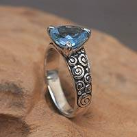 Blue topaz cocktail ring, 'Ocean Divine' - Indonesian Silver and Blue Topaz Ring