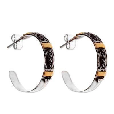 Gold accent half hoop earrings, 'Nusa Dua Sunrise' - Gold accent half hoop earrings