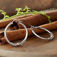 Gold accent hoop earrings, 'Two Tone Moon' - Fair Trade Gold Accented Sterling Silver Hoop Earrings