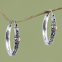 Gold accent hoop earrings, 'Floral Tendrils' - Indonesian Sterling Silver and Gold Accent Earrings