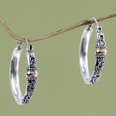 Gold accent hoop earrings, 'Floral Tendrils' - Hand Crafted Sterling Silver and 18k Gold Hoop Earrings